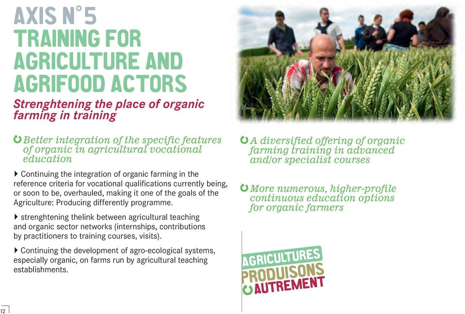 Agriculture: Producing differently programme. strenghtening thelink between agricultural teaching and organic sector networks (internships, contributions by practitioners to training courses, visits).