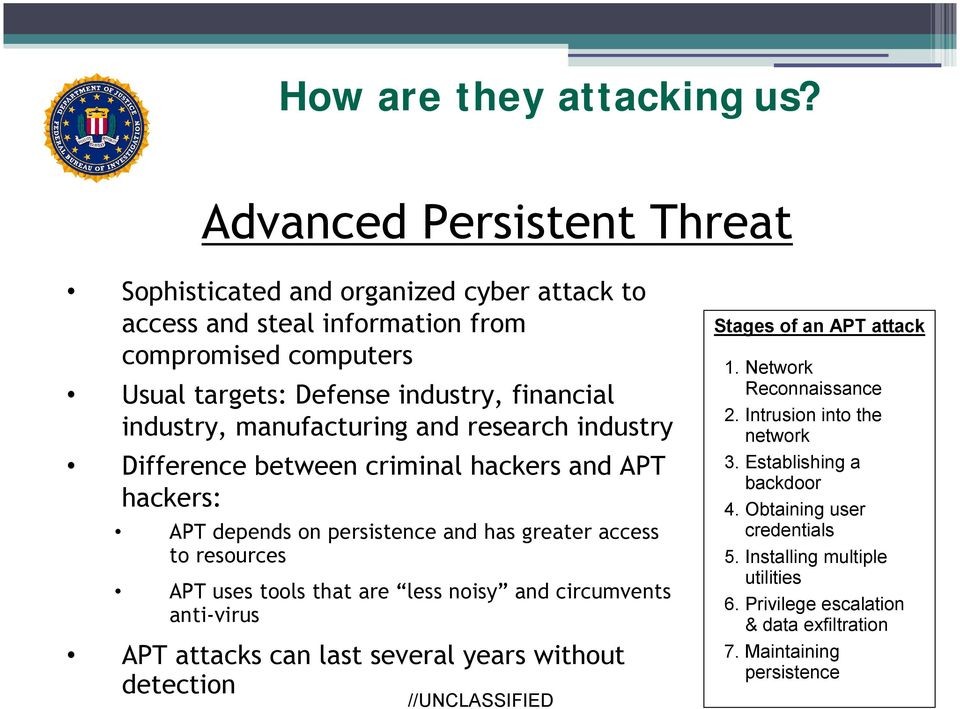industry, manufacturing and research industry Difference between criminal hackers and APT hackers: APT depends on persistence and has greater access to resources APT uses tools
