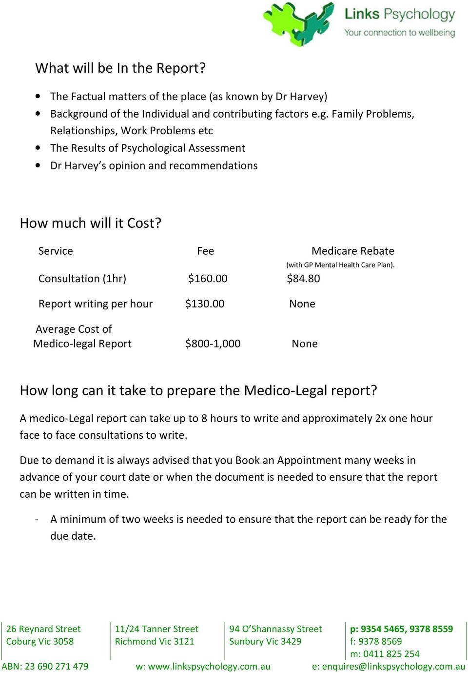 Service Fee Medicare Rebate (with GP Mental Health Care Plan). Consultation (1hr) $160.00 $84.80 Report writing per hour $130.