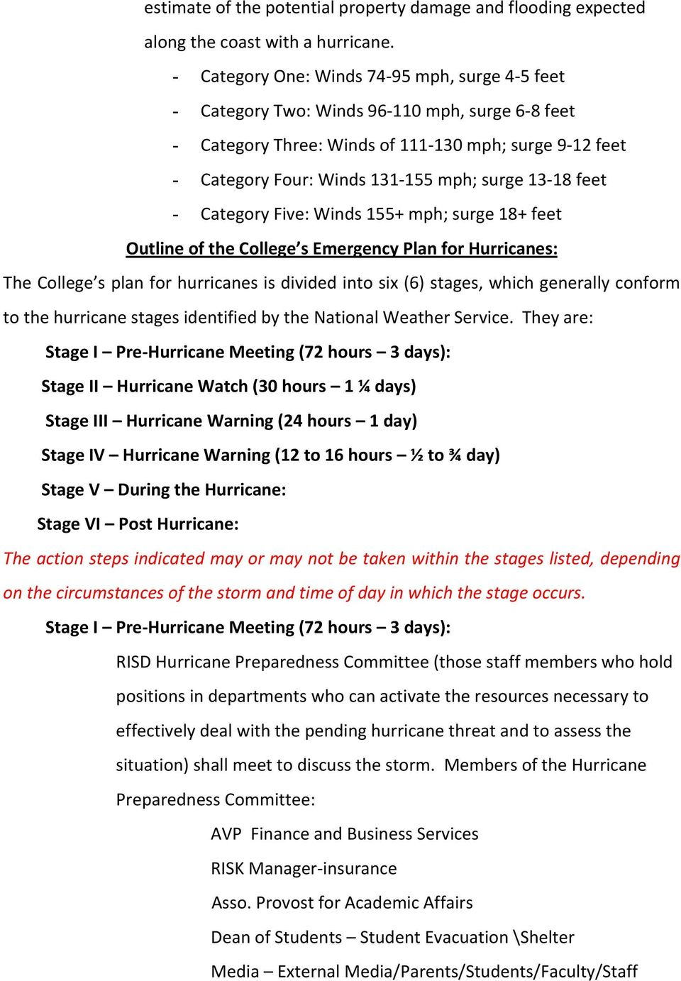 13-18 feet - Category Five: Winds 155+ mph; surge 18+ feet Outline of the College s Emergency Plan for Hurricanes: The College s plan for hurricanes is divided into six (6) stages, which generally