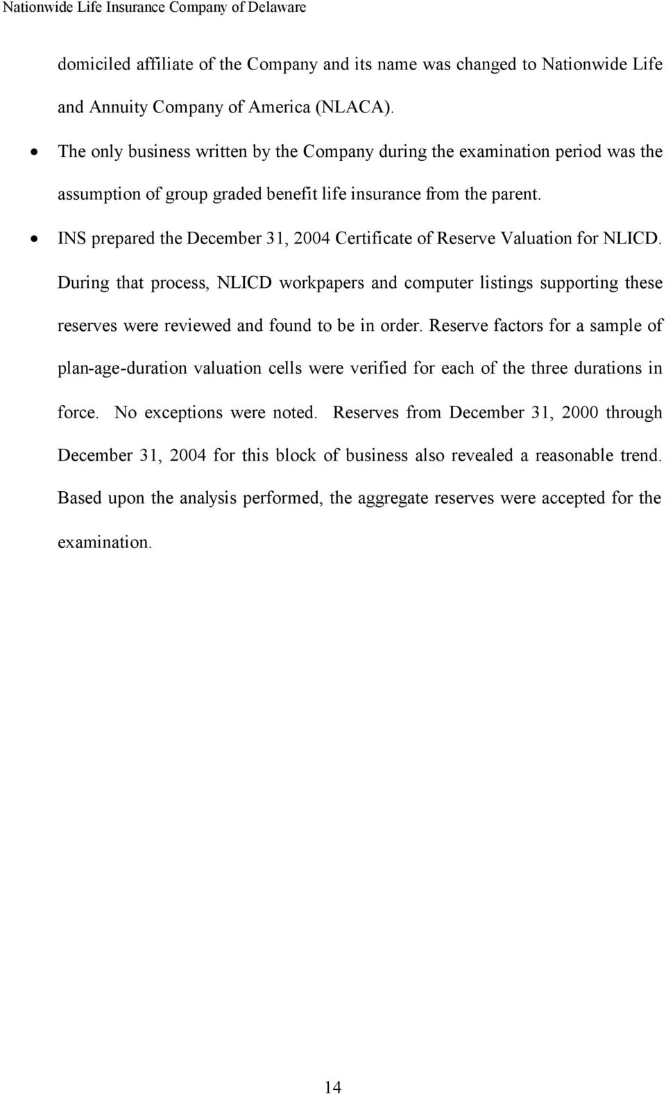 INS prepared the December 31, 2004 Certificate of Reserve Valuation for NLICD.