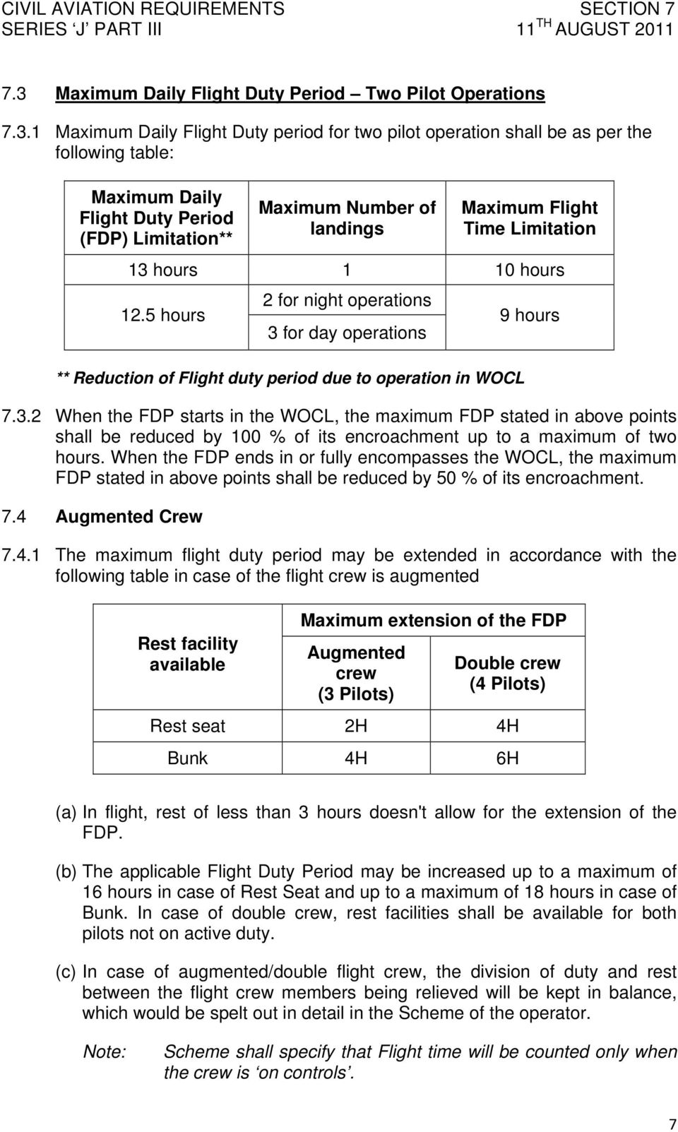 5 hours 2 for night operations 3 for day operations ** Reduction of Flight duty period due to operation in WOCL 9 hours 7.3.2 When the FDP starts in the WOCL, the maximum FDP stated in above points shall be reduced by 100 % of its encroachment up to a maximum of two hours.