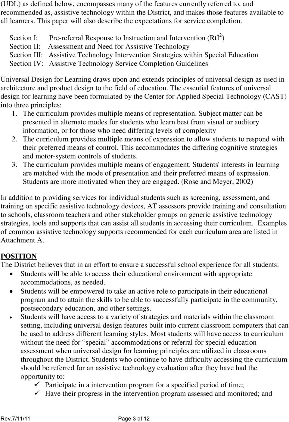 Section I: Pre-referral Response to Instruction and Intervention (RtI 2 ) Section II: Assessment and Need for Assistive Technology Section III: Assistive Technology Intervention Strategies within