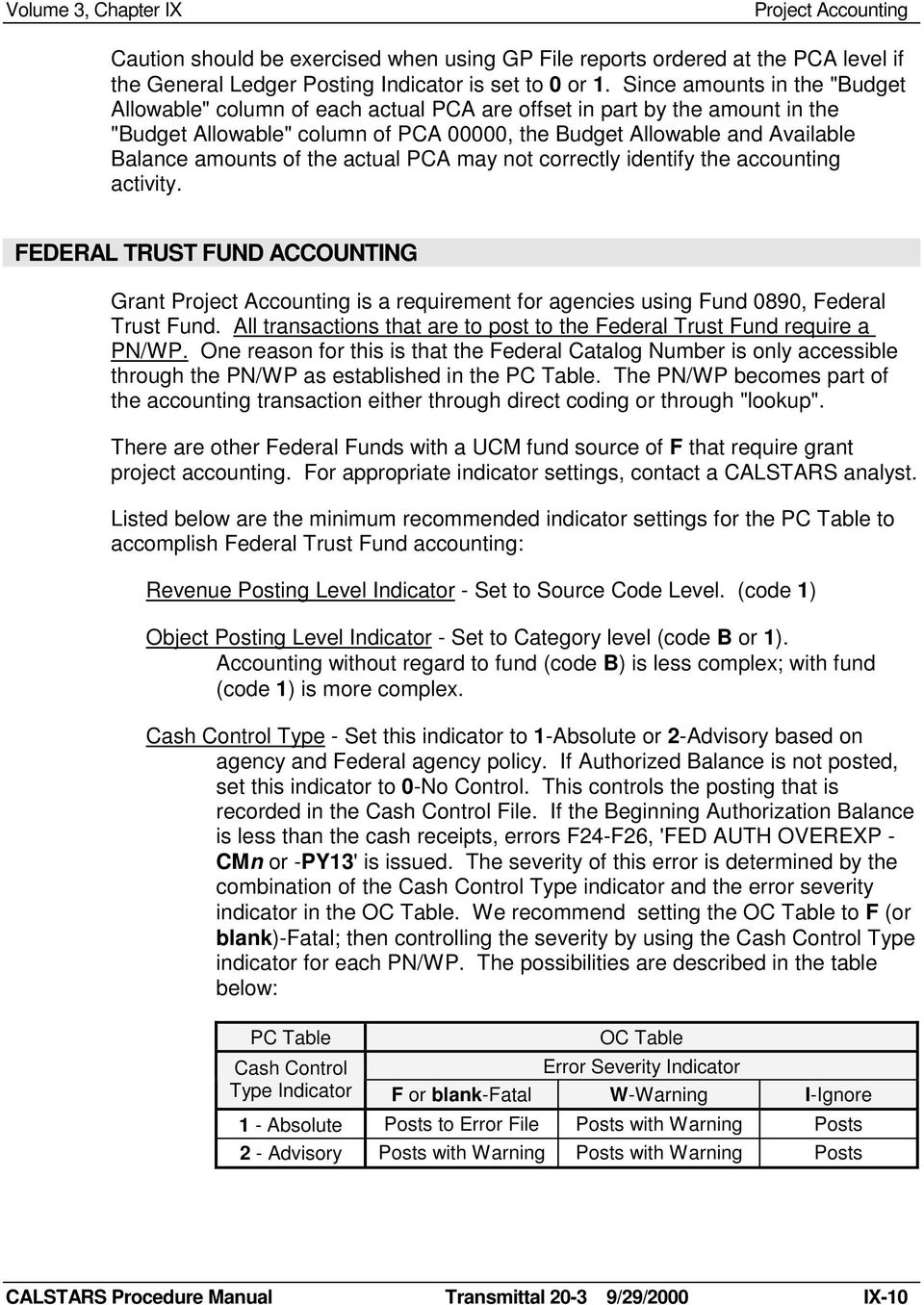 the actual PCA may not correctly identify the accounting activity. FEDERAL TRUST FUND ACCOUNTING Grant is a requirement for agencies using Fund 0890, Federal Trust Fund.