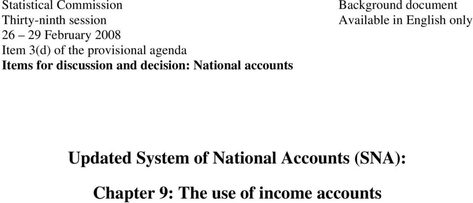 National accounts Background document Available in English only