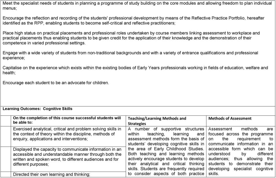 status on practical placements and professional roles undertaken by course members linking assessment to workplace and practical placements thus enabling students to be given credit for the