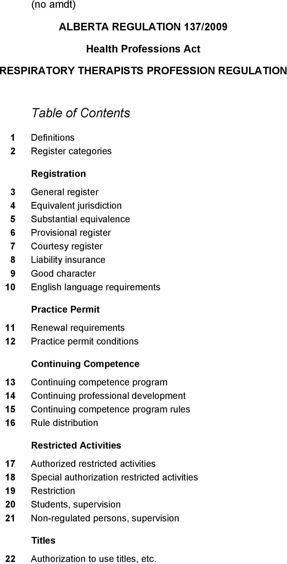 requirements 12 Practice permit conditions Continuing Competence 13 Continuing competence program 14 Continuing professional development 15 Continuing competence program rules 16 Rule distribution
