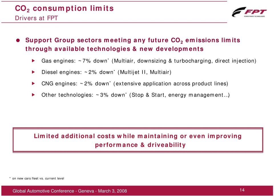 II, Multiair) CNG engines: ~2% down * (extensive application across product lines) Other technologies: ~3% down * (Stop & Start, energy