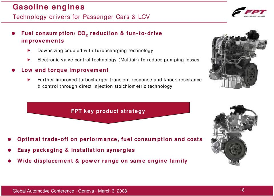 turbocharger transient response and knock resistance & control through direct injection stoichiometric technology FPT key product strategy