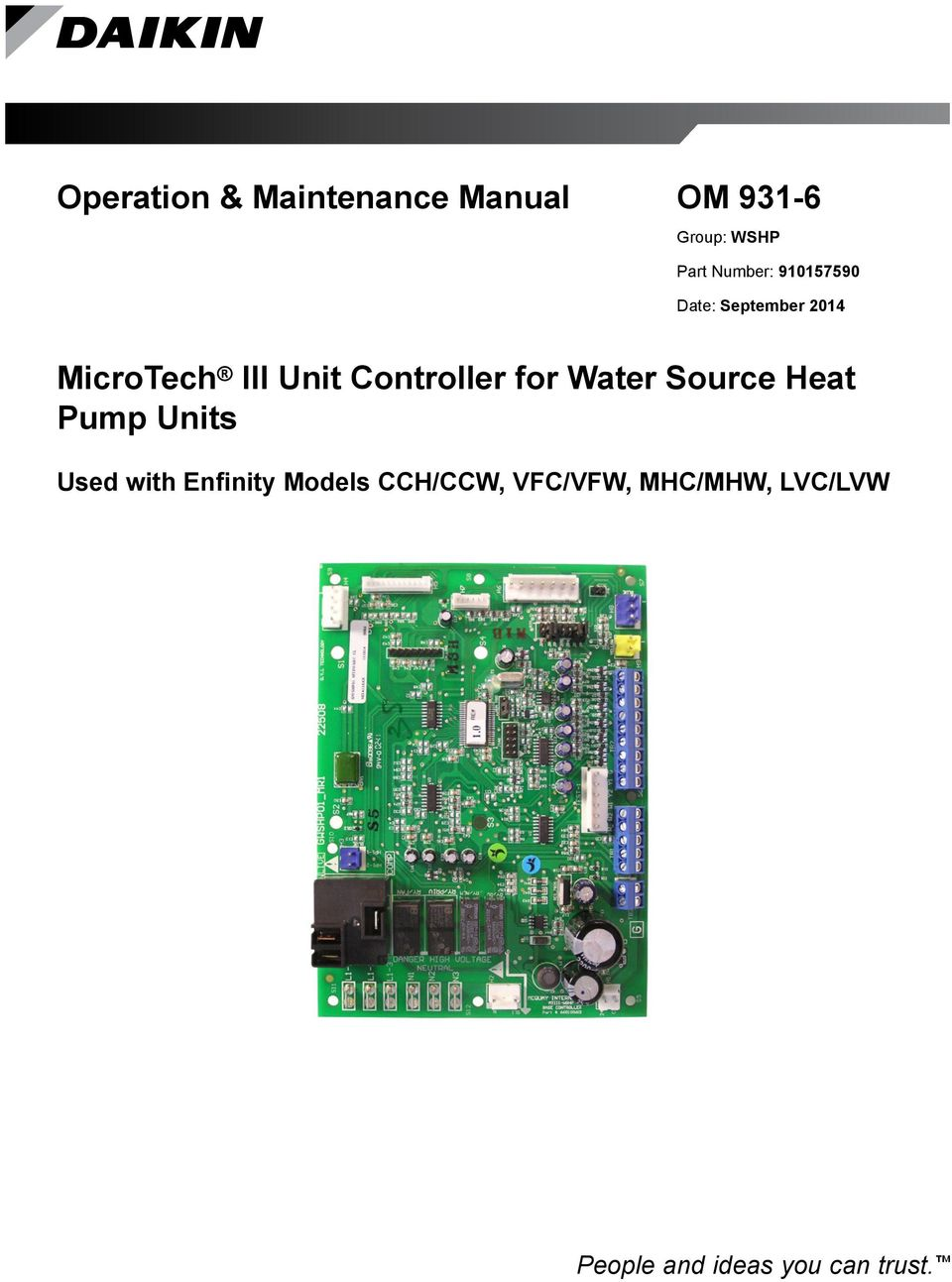 Controller for Water Source Heat Pump Units Used with Enfinity