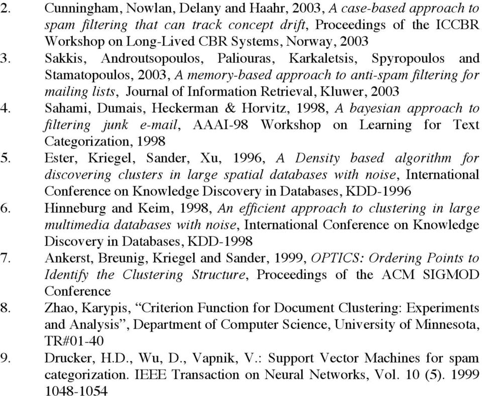 4. Sahami, Dumais, Heckerman & Horvitz, 1998, A bayesian approach to filtering junk e-mail, AAAI-98 Workshop on Learning for Text Categorization, 1998 5.