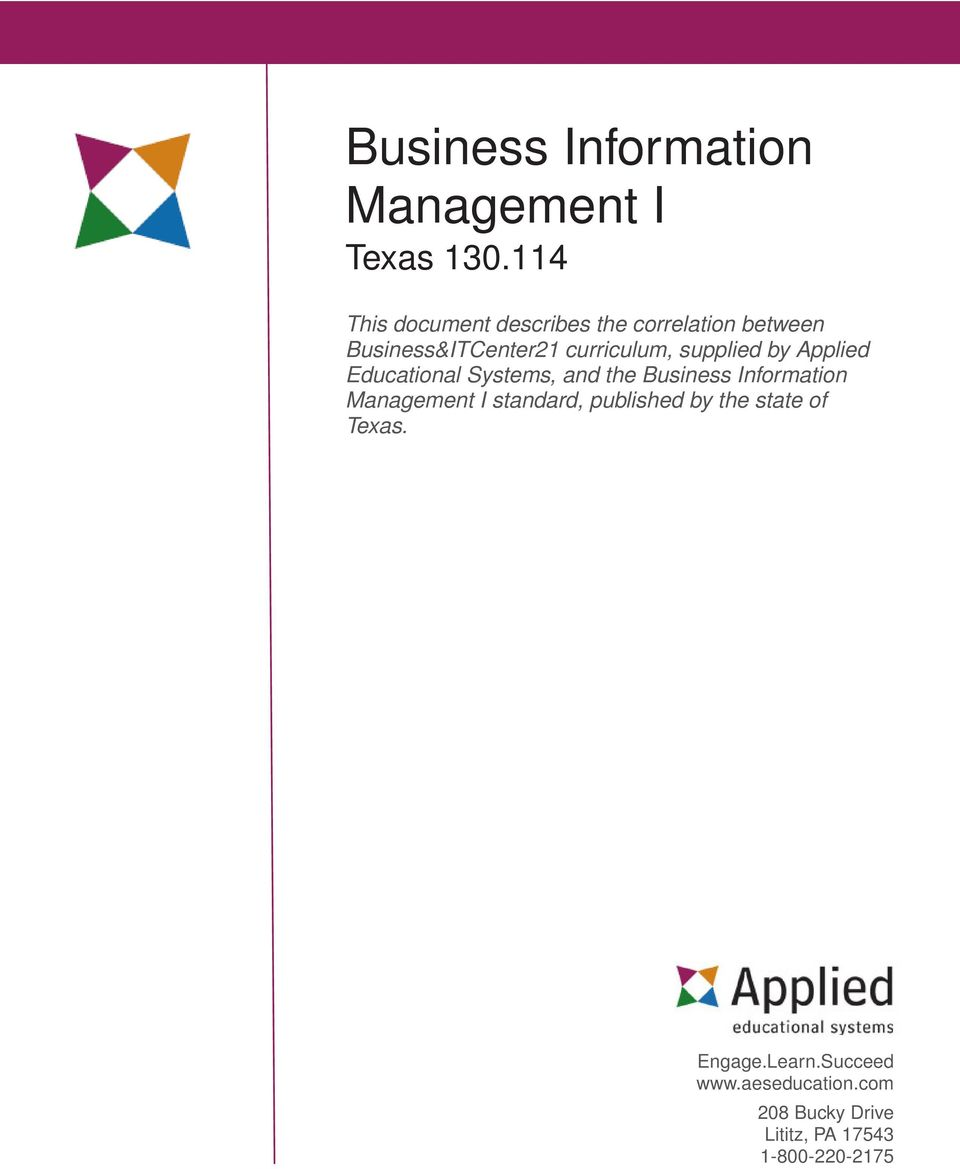 Applied Educational Systems, and the Business Information Management I