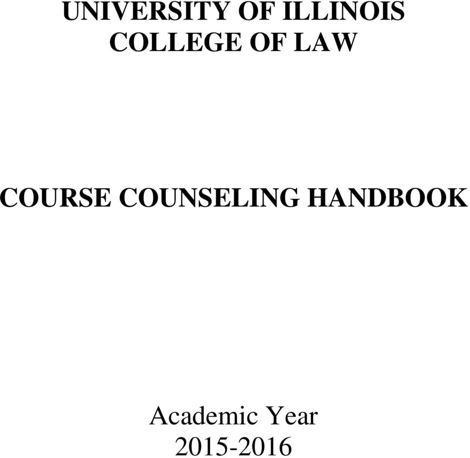 LAW COURSE COUNSELING