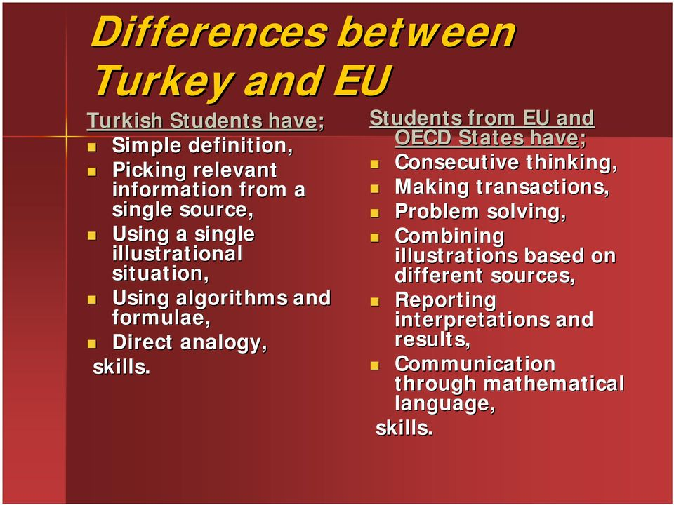 Students from EU and OECD States have; Consecutive thinking, Making transactions, Problem solving, Combining