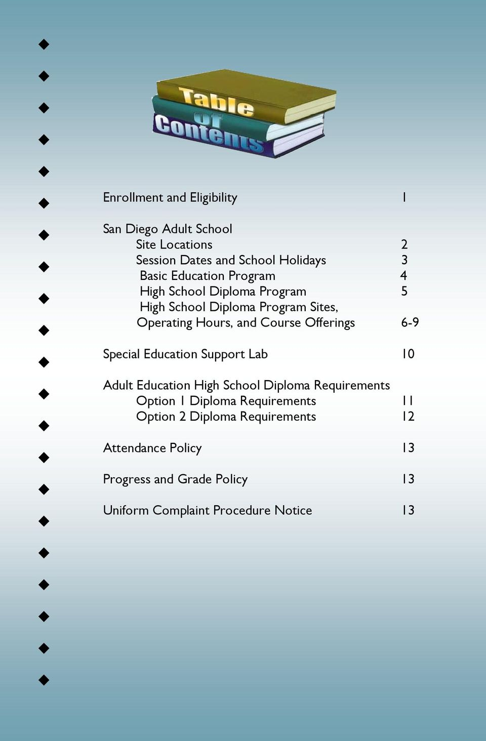 Offerings 6-9 Special Education Support Lab 10 Adult Education High School Diploma Requirements Option 1 Diploma