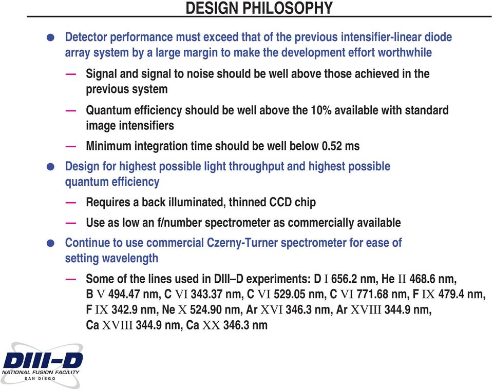 52 ms Design for highest possible light throughput and highest possible quantum efficiency Requires a back illuminated, thinned CCD chip Use as low an f/number spectrometer as commercially available