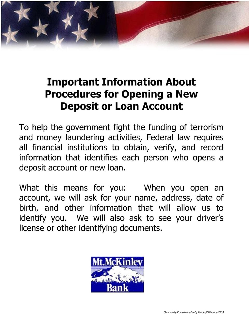 deposit account or new loan.