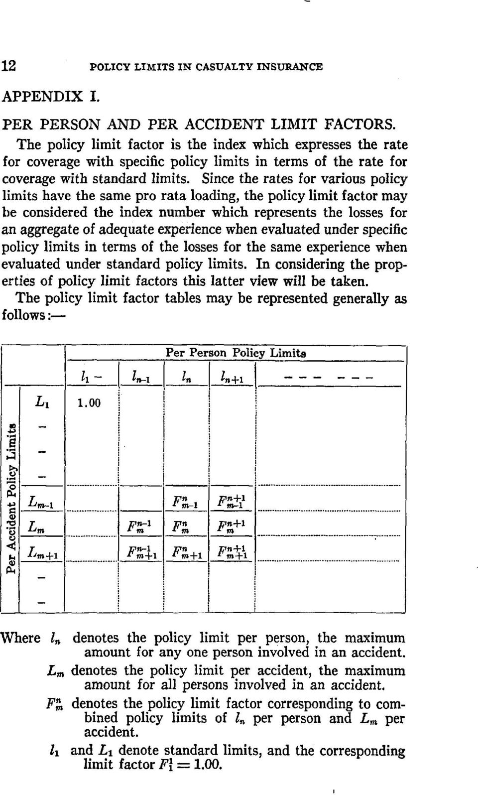 Since the rates for various policy limits have the same pro rata loading, the policy limit factor may be considered the index number which represents the losses for an aggregate of adequate
