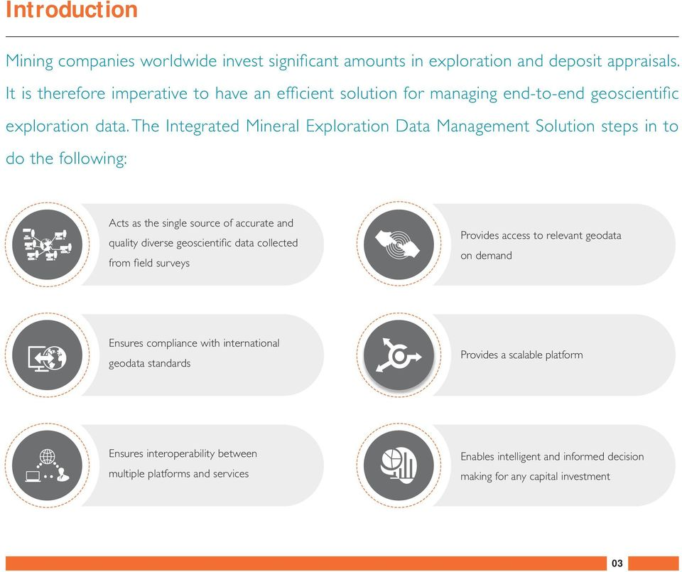 The Integrated Mineral Exploration Data Management Solution steps in to do the following: Acts as the single source of accurate and quality diverse geoscientific data