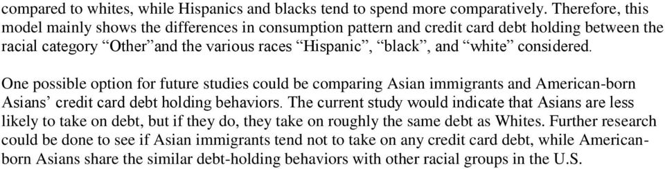 considered. One possible option for future studies could be comparing Asian immigrants and American-born Asians credit card debt holding behaviors.