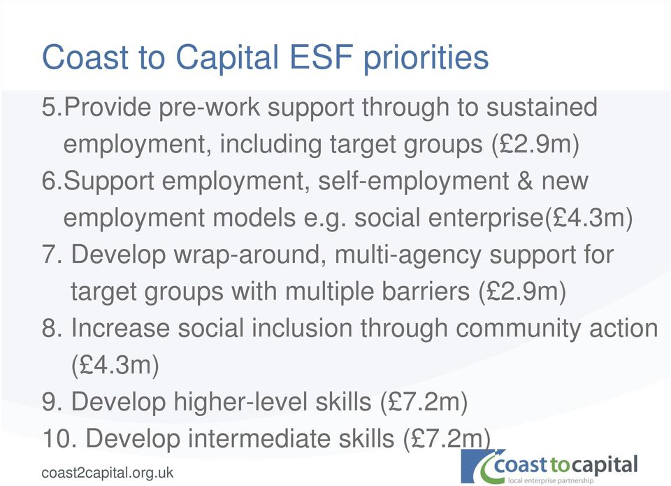 Support employment, self-employment & new employment models e.g. social enterprise( 4.3m) 7.