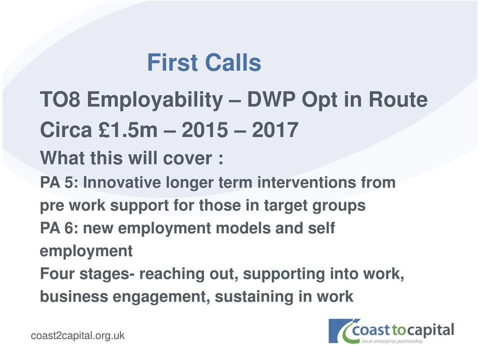 from pre work support for those in target groups PA 6: new employment models
