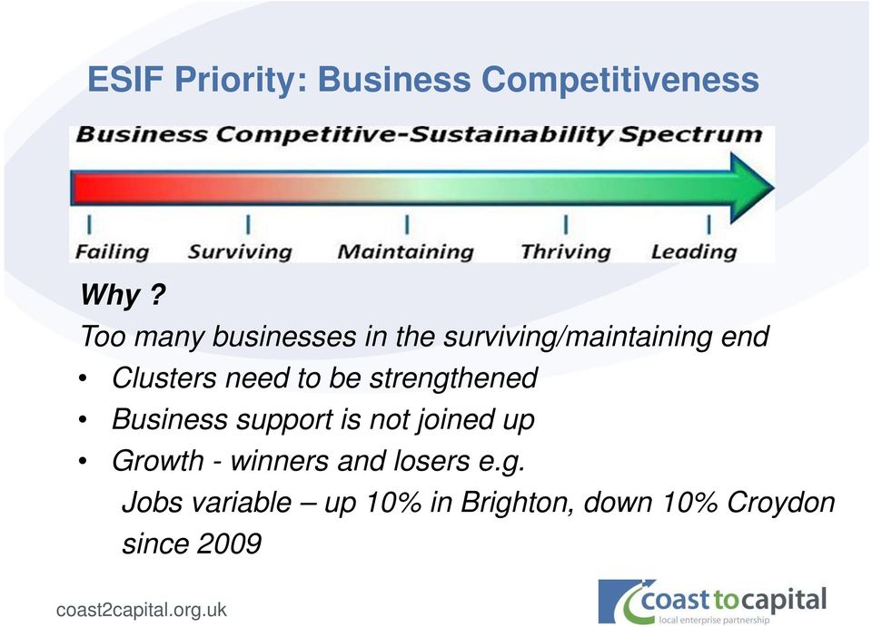 need to be strengthened Business support is not joined up Growth