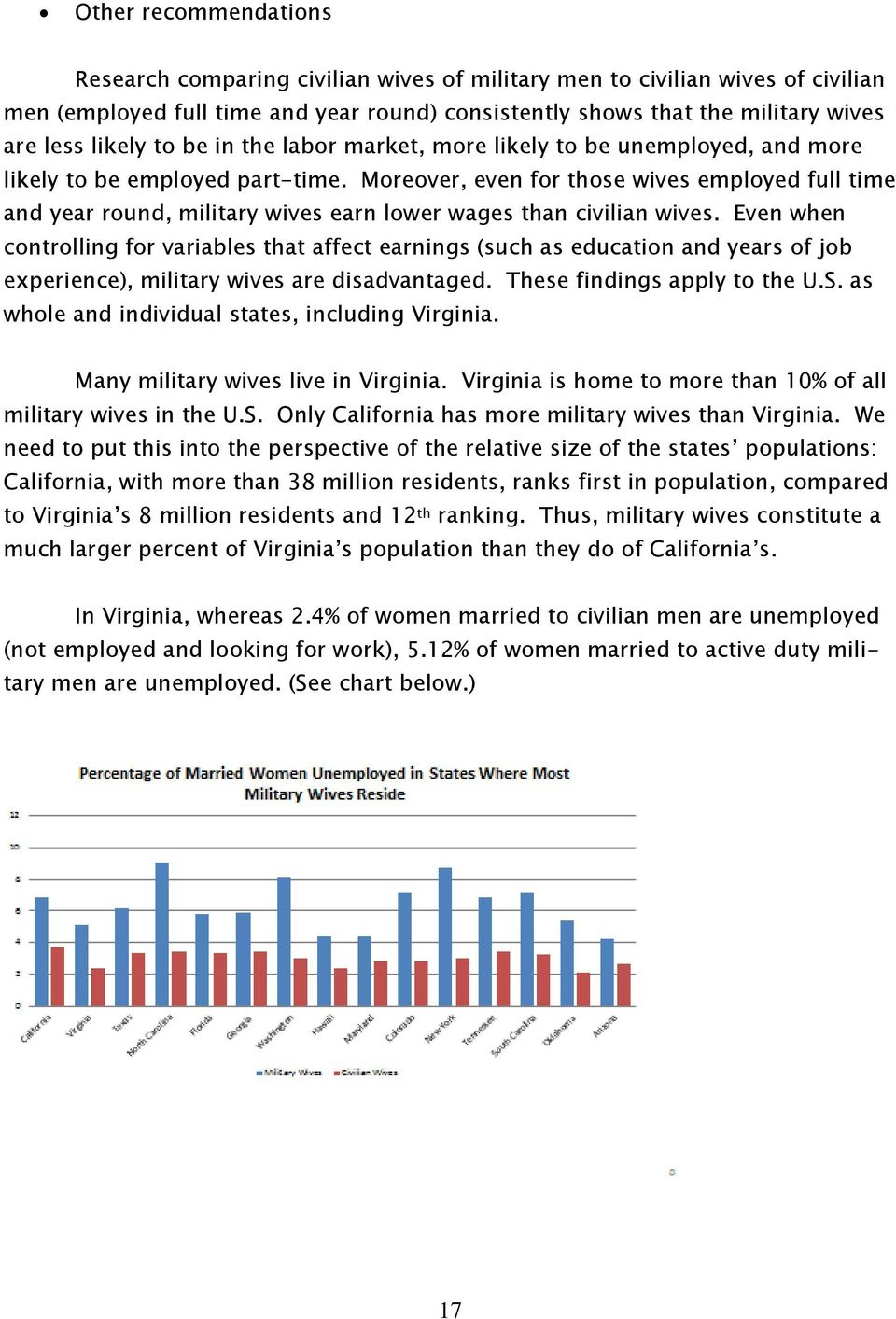 Moreover, even for those wives employed full time and year round, military wives earn lower wages than civilian wives.