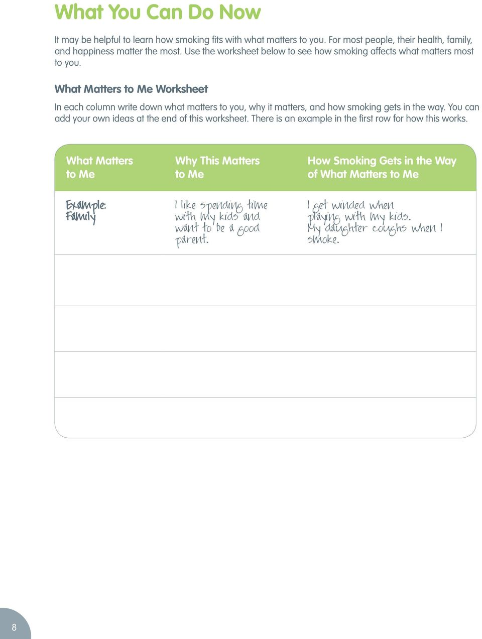 What Matters to Me Worksheet In each column write down what matters to you, why it matters, and how smoking gets in the way. You can add your own ideas at the end of this worksheet.