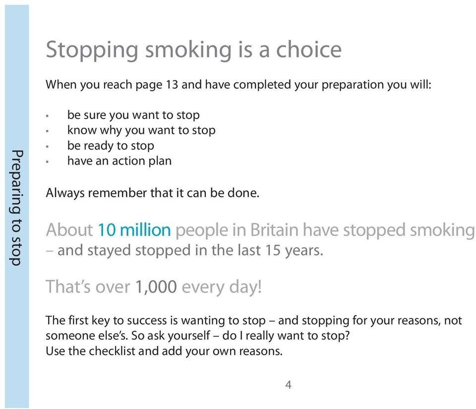 About 10 million people in Britain have stopped smoking and stayed stopped in the last 15 years. That s over 1,000 every day!