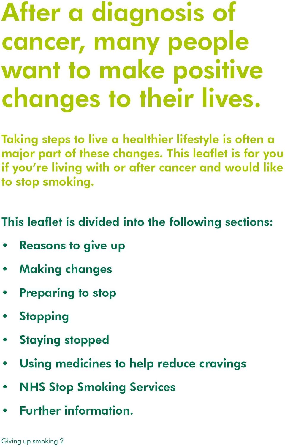 This leaflet is for you if you re living with or after cancer and would like to stop smoking.