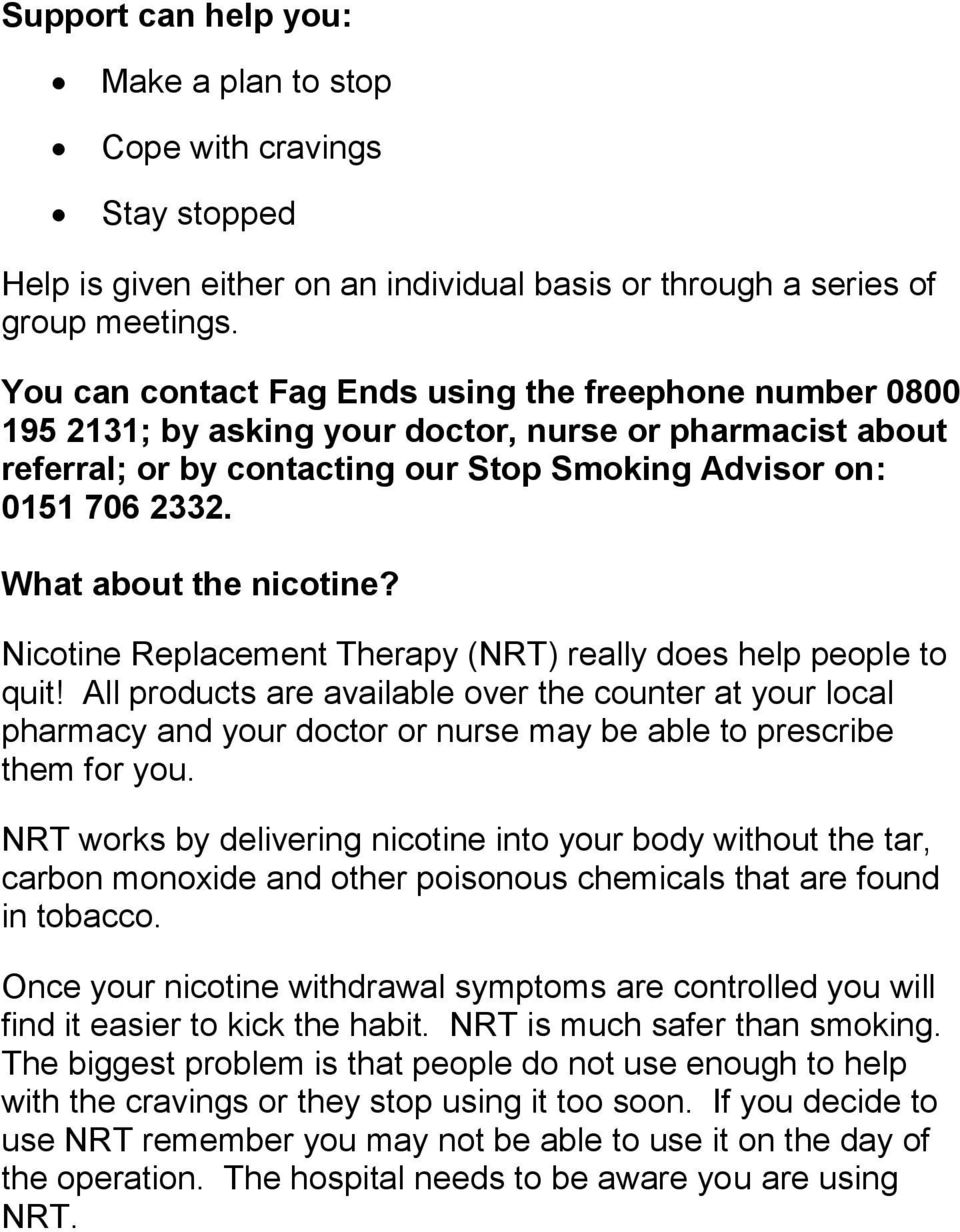 What about the nicotine? Nicotine Replacement Therapy (NRT) really does help people to quit!