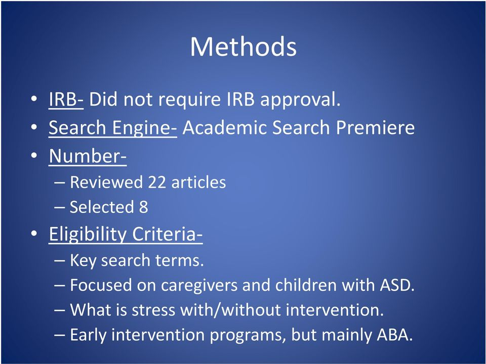 Selected 8 Eligibility Criteria Key search terms.
