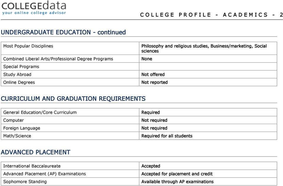 GRADUATION REQUIREMENTS General Education/Core Curriculum Computer Foreign Language Math/Science Required Not required Not required Required for all students