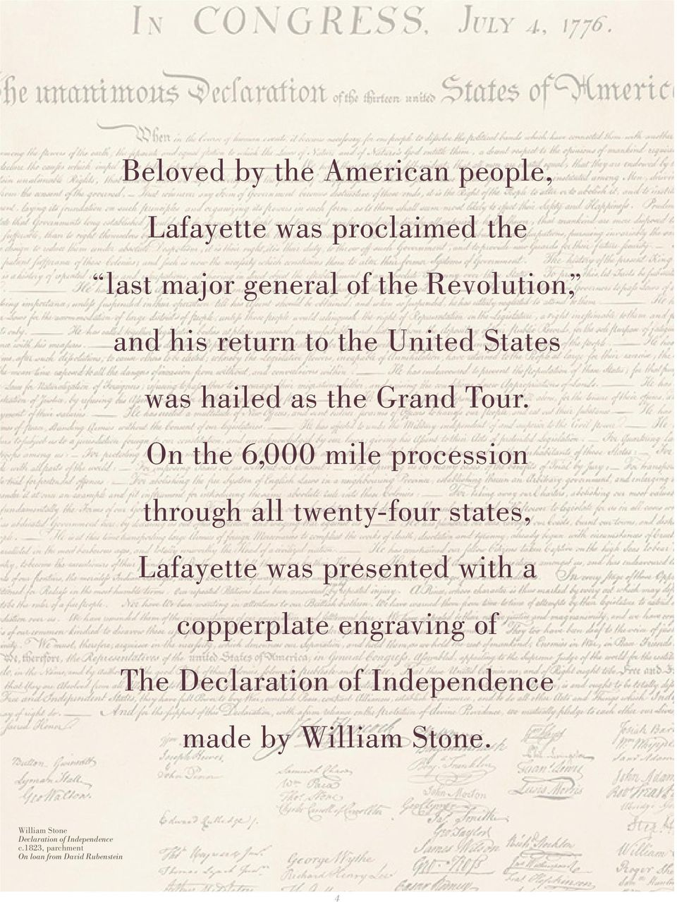 On the 6,000 mile procession through all twenty-four states, Lafayette was presented with a copperplate
