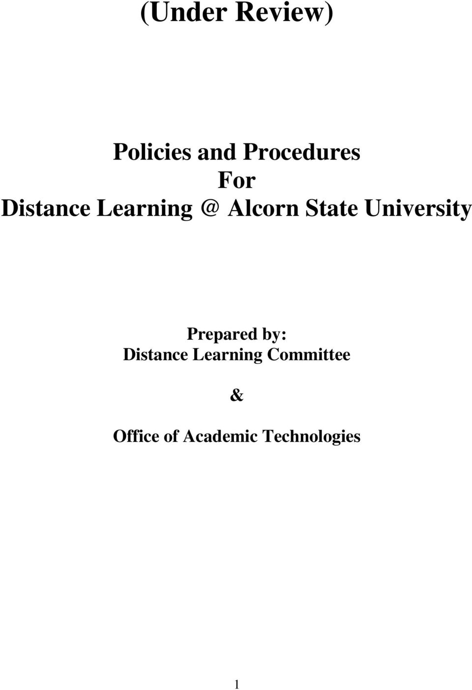 University Prepared by: Distance