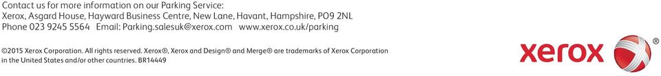 com www.xerox.co.uk/parking 2015 Xerox Corporation. All rights reserved.