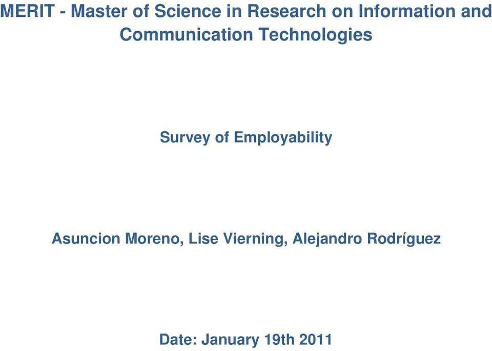 Survey of Employability Asuncion Moreno, Lise
