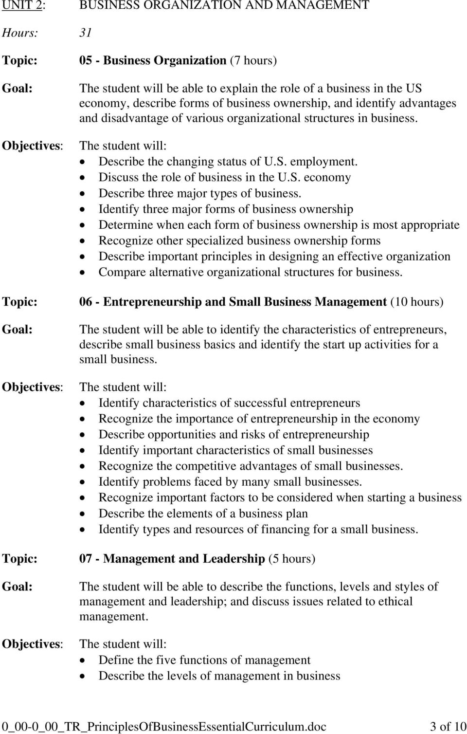 Identify three major forms of business ownership Determine when each form of business ownership is most appropriate Recognize other specialized business ownership forms Describe important principles