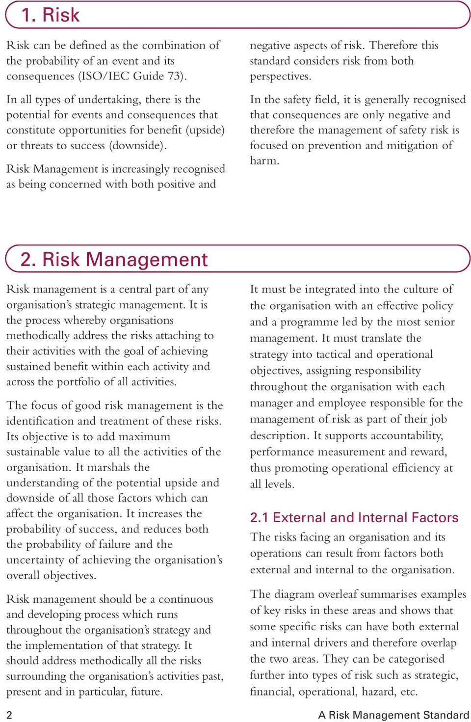 Risk Management is increasingly recognised as being concerned with both positive and negative aspects of risk. Therefore this standard considers risk from both perspectives.