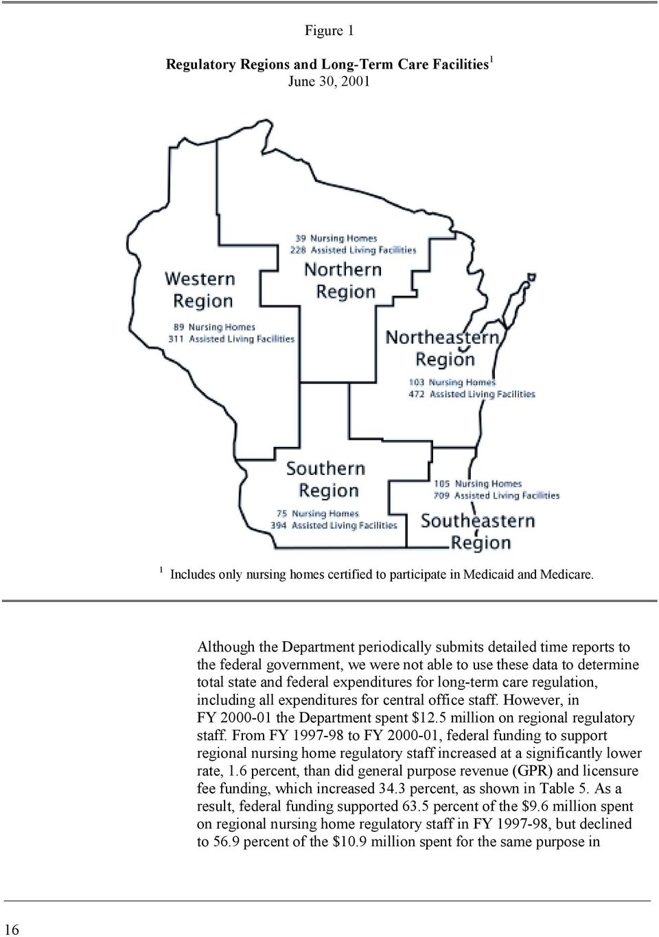 regulation, including all expenditures for central office staff. However, in FY 2000-01 the Department spent $12.5 million on regional regulatory staff.