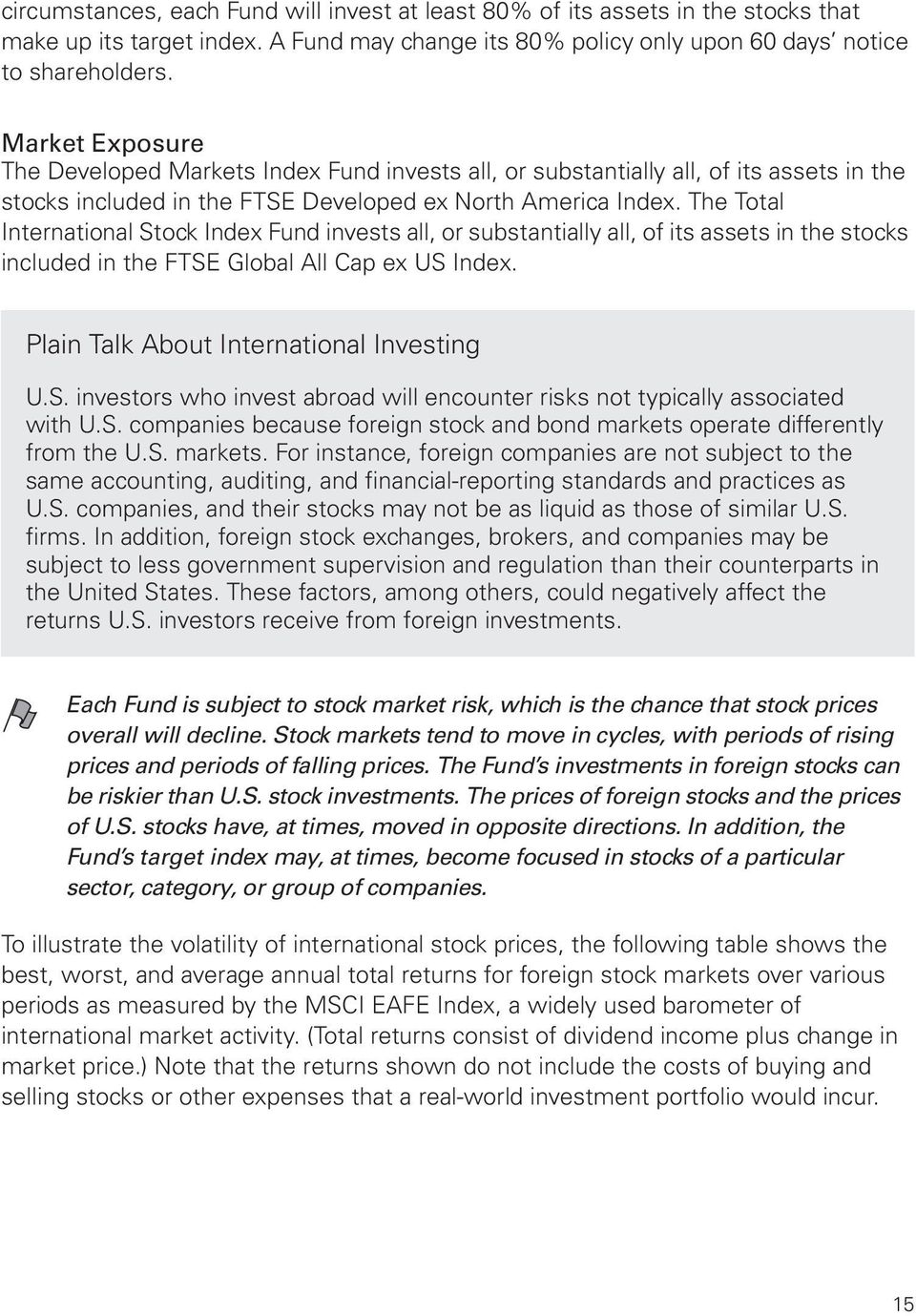 The Total International Stock Index Fund invests all, or substantially all, of its assets in the stocks included in the FTSE Global All Cap ex US Index. Plain Talk About International Investing U.S. investors who invest abroad will encounter risks not typically associated with U.