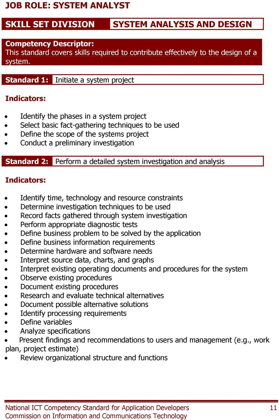 investigation Standard 2: Perform a detailed system investigation and analysis Identify time, technology and resource constraints Determine investigation techniques to be used Record facts gathered