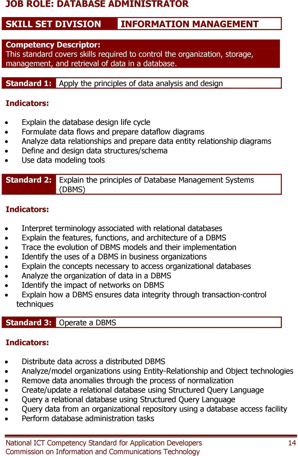 Standard 1: Apply the principles of data analysis and design Explain the database design life cycle Formulate data flows and prepare dataflow diagrams Analyze data relationships and prepare data