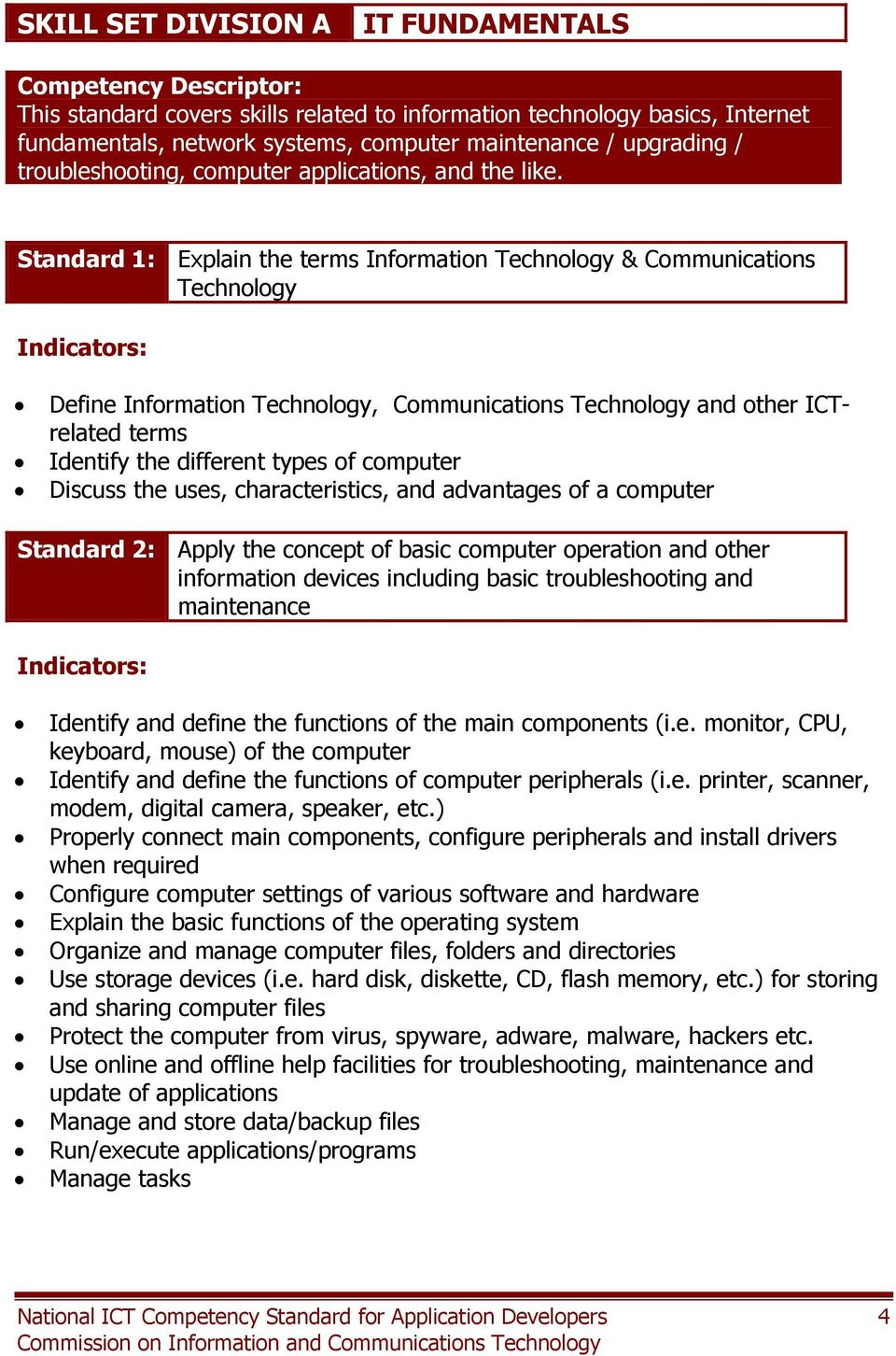 Standard 1: Explain the terms Information Technology & Communications Technology Define Information Technology, Communications Technology and other ICTrelated terms Identify the different types of