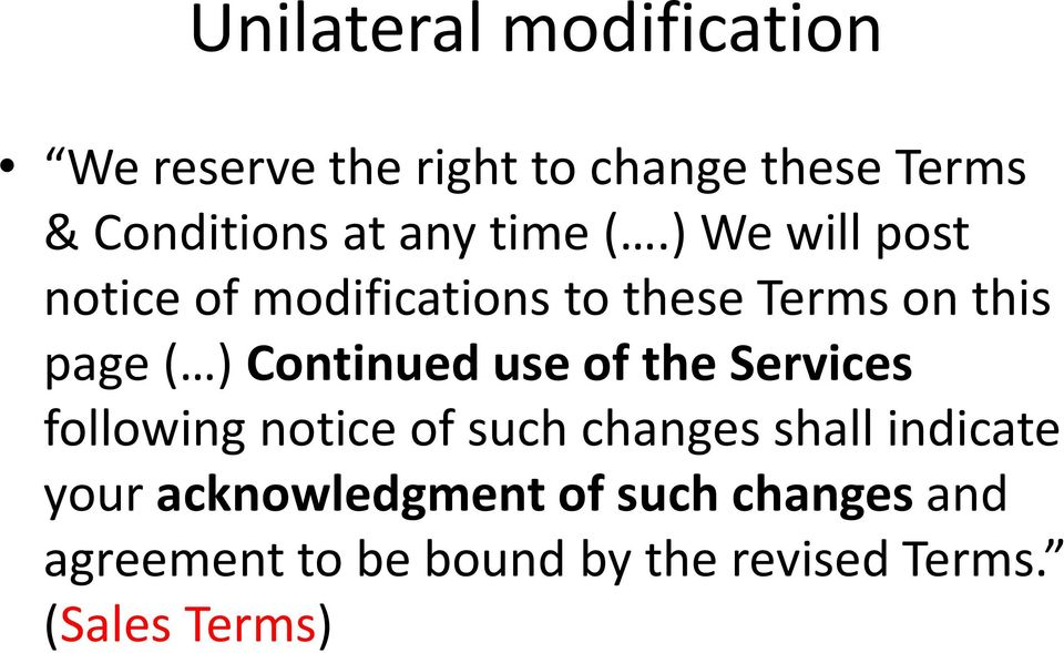 ) We will post notice of modifications to these Terms on this page ( ) Continued use
