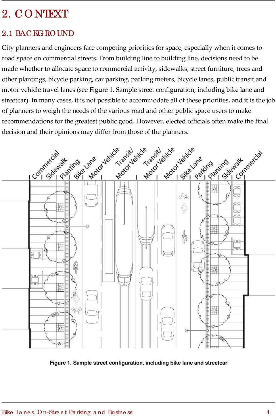 parking meters, bicycle lanes, public transit and motor vehicle travel lanes (see Figure 1. Sample street configuration, including bike lane and streetcar).
