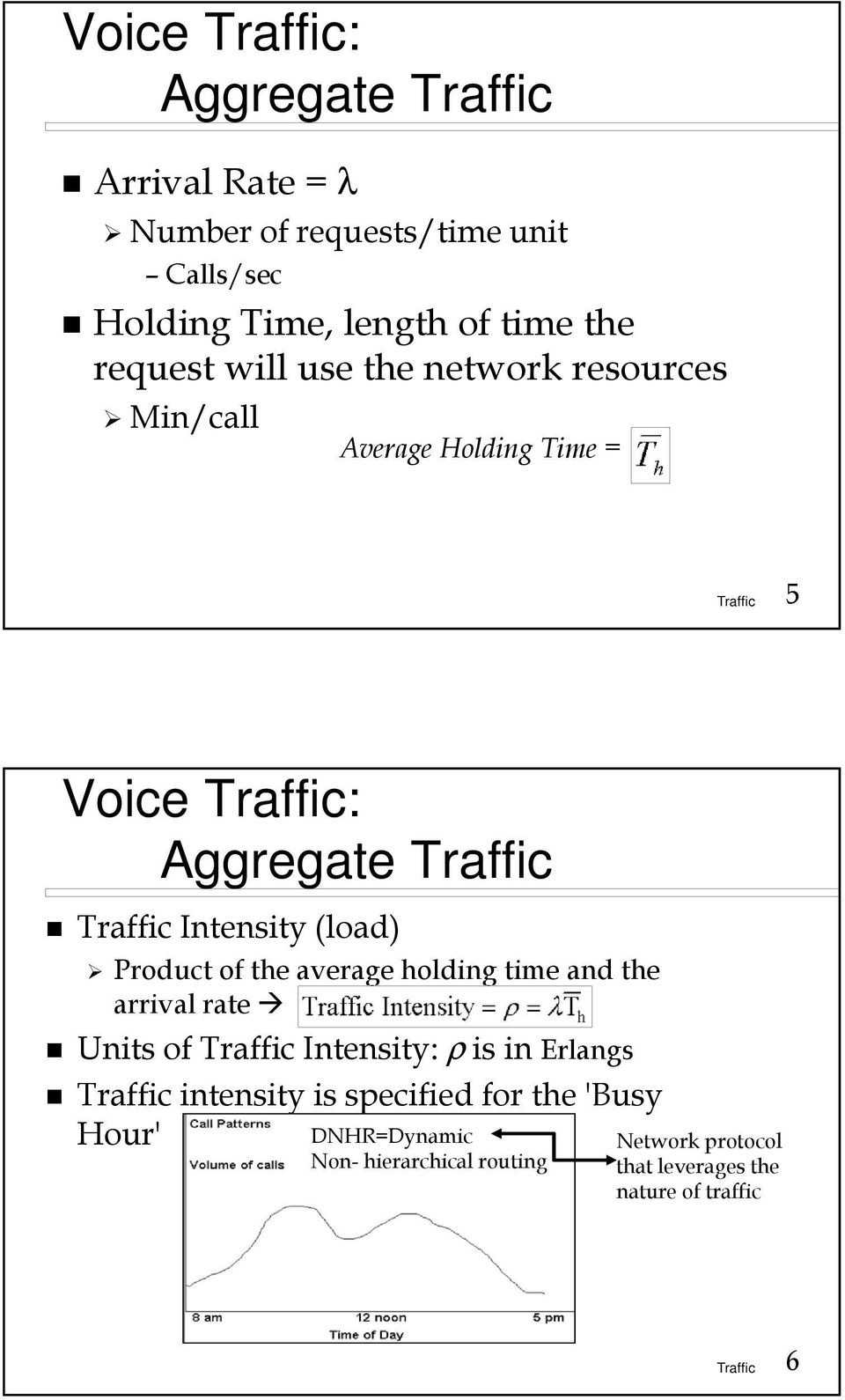 Product of the average holding time and the arrival rate Units of Intensity: ρ is in Erlangs intensity is