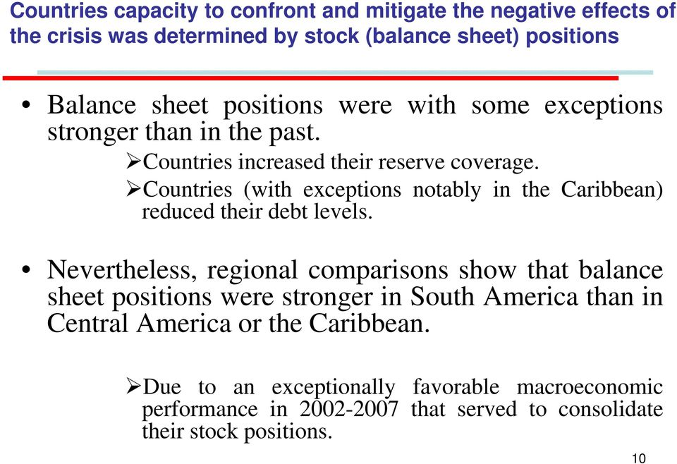 Countries (with exceptions notably in the Caribbean) reduced their debt levels.