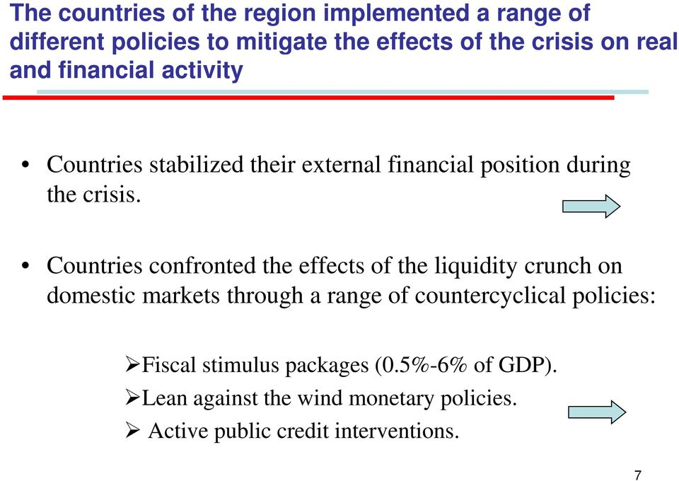 Countries confronted the effects of the liquidity crunch on domestic markets through a range of countercyclical